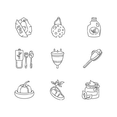 Zero waste products linear icons set. Sustainable lifestyle customizable thin line contour symbols. Eco food, cosmetics and hygiene products isolated vector outline illustrations. Editable stroke icon