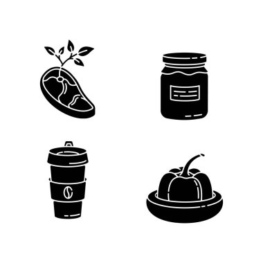 Zero waste food black glyph icons set on white space. Vegan meat, glass jar, reusable coffee cup and food savers silhouette symbols. Sustainable lifestyle accessories. Vector isolated illustrations icon