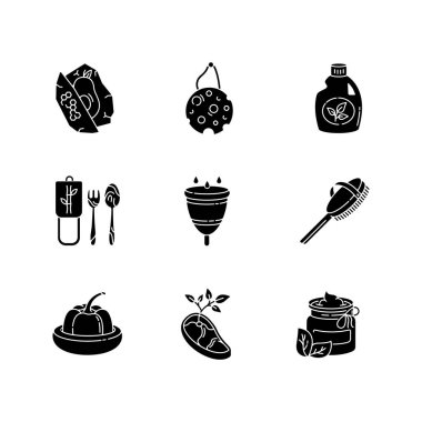 Zero waste products black glyph icons set on white space. Sustainable and environmentally safe lifestyle silhouette symbols. Eco food, cosmetics and hygiene products vector isolated illustrations icon