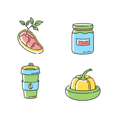 Zero waste food RGB color icons set. Vegan meat, glass jar, reusable coffee cup and food savers. Sustainable lifestyle accessories. Isolated vector illustrations icon