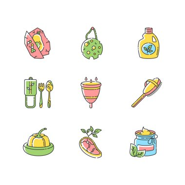 Zero waste products RGB color icons set. Sustainable and environmentally safe lifestyle. Eco food, cosmetics and hygiene products isolated vector illustrations icon