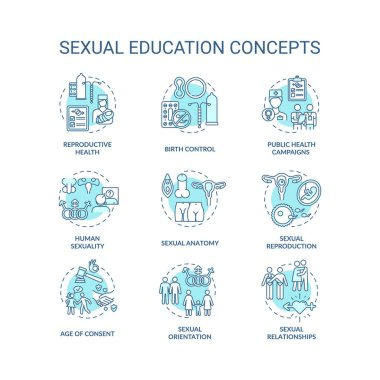 Sexual education concept icons set. Human sexuality and physiology idea thin line RGB color illustrations. Anatomy and reproductive health teaching. Vector isolated outline drawings. Editable stroke icon