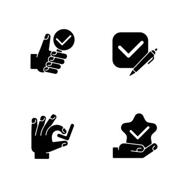 Review checkmark black glyph icons set on white space. Questionnaire evaluation. Star quality. Investigation completed. Choose correct. Silhouette symbols. Vector isolated illustration icon
