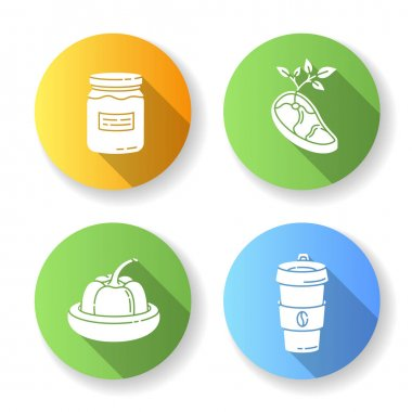 Zero waste food flat design long shadow glyph icons set. Vegan meat, glass jar, reusable coffee cup and food savers. Sustainable lifestyle accessories. Silhouette RGB color illustrations icon