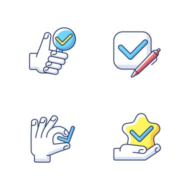 Review checkmark RGB color icons set. Questionnaire evaluation. Tick in checkbox. Star quality. Investigation completed. Research confirmation. Choose correct. Isolated vector illustrations icon