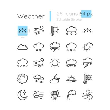 Meteorology linear icons set. Seasonal weather change. Windy day. Cloudy night. Customizable thin line contour symbols. Isolated vector outline 128 x 128 px illustrations. Editable stroke icon