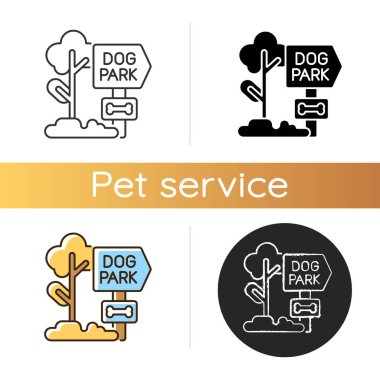 Dog park icon. Linear black and RGB color styles. Outdoor recreation with domestic animals. Pet care. Special public area for dog walking, fresh air activities. Isolated vector illustrations icon
