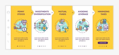 Business investment tips onboarding vector template. Capital management and financial analysis. Responsive mobile website with icons. Webpage walkthrough step screens. RGB color concept