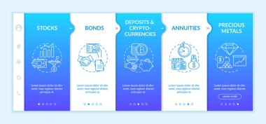 Investment types onboarding vector template. Stocks, bonds, cryprocurrency and precious metals. Responsive mobile website with icons. Webpage walkthrough step screens. RGB color concept