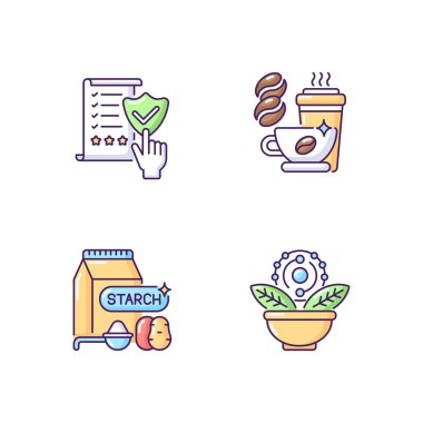 Diet RGB color icons set. Regulatory compliance. Caffeine in drinks. Starch in food. Antioxidant for dietary. Healthy eating. Quality foodstuff. Cooking ingredient. Isolated vector illustrations icon