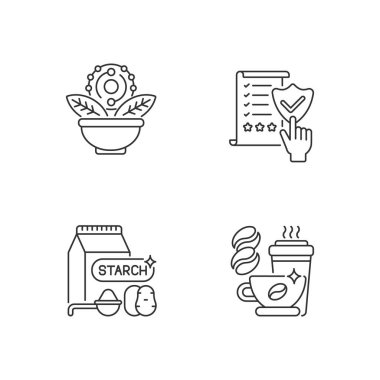Diet linear icons set. Regulatory compliance. Caffeine in drink. Starch in food. Antioxidant for dietary. Customizable thin line contour symbols. Isolated vector outline illustrations. Editable stroke icon