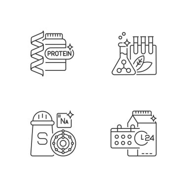 Food supplements linear icons set. Protein supplement for body building. Chemical preservatives. Customizable thin line contour symbols. Isolated vector outline illustrations. Editable stroke icon