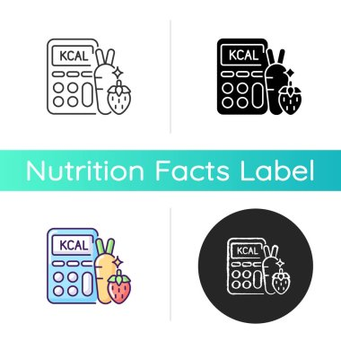 Calories icon. Ingredients for healthy eating. Dietary food. Calculator for measurement. Body care. Count weight loss. Linear black and RGB color styles. Isolated vector illustrations icon
