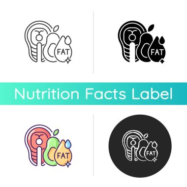 Fats icon. Good nourishment for dietary. Food group for digestion. Vegetable and fish for diet. Salmon and avocado. Fatty acid. Linear black and RGB color styles. Isolated vector illustrations icon