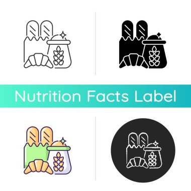 Carbohydrate icon. Wheat ingredient in foodstuff. Nutritious load. Food group for dietary balance. Caloric bread and croissant. Linear black and RGB color styles. Isolated vector illustrations icon