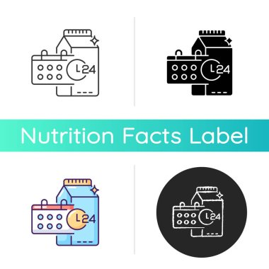 Product dates icon. Expiration deadline for milk. Grocery food. Foodstuff to purchase. Healthy eating. Buy dairy for dietary. Linear black and RGB color styles. Isolated vector illustrations icon