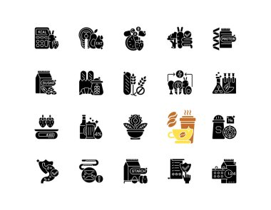 Healthy eating black glyph icons set on white space. Protein supplement. Vitamin in mineral pill. Dietary ingredients. Calorie control for fitness. Silhouette symbols. Vector isolated illustration icon