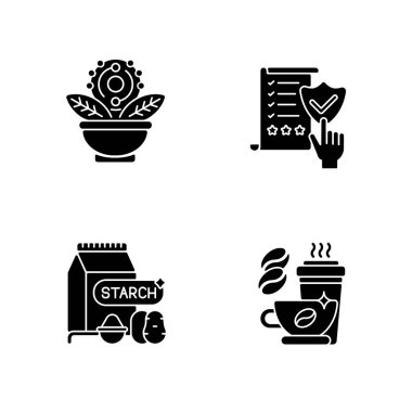 Diet black glyph icons set on white space. Regulatory compliance. Caffeine in drinks. Starch in food. Antioxidant for dietary. Healthy eating. Silhouette symbols. Vector isolated illustration icon
