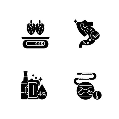 Foodstuff black glyph icons set on white space. Cholesterol in blood disease. Serving information. Strawberry on scales. Calorie in food. Silhouette symbols. Vector isolated illustration icon