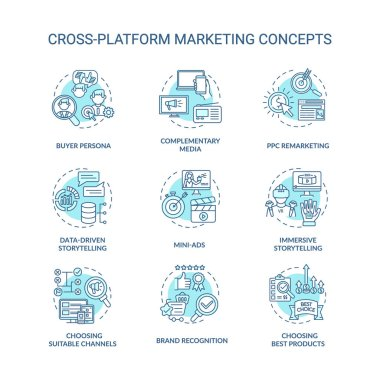 Cross-platform marketing concept icons set. Brand awareness. Advertising idea thin line RGB color illustrations. Storytelling in online content. Vector isolated outline drawings. Editable strok icon