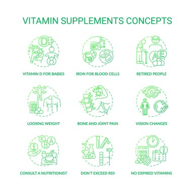 Vitamin supplements concept icons set. Benefits, consumption tips idea thin line RGB color illustrations. Consult nutritionist. Exceed RDI. No expired vitamins. Vector isolated outline drawings. icon