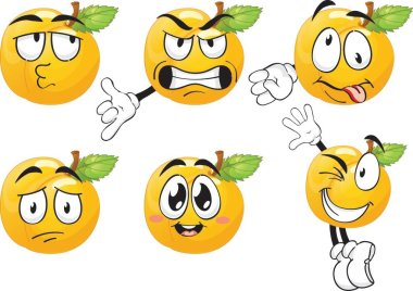 Vector set of cartoon character with many expressions. Orange. icon