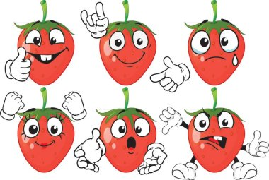 Vector set of cartoon character with many expressions. Strawberry icon
