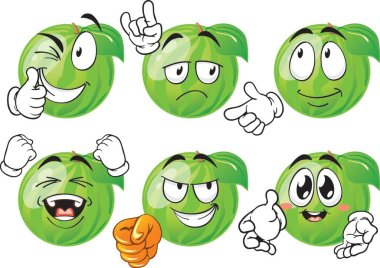 Vector set of cartoon character with many expressions. Watermelon icon