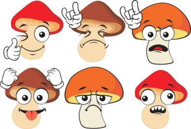 Vector set of cartoon character with many expressions. Mashrooms. icon