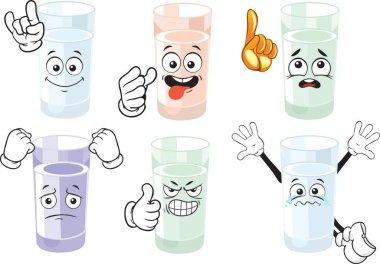 Glass of Water Cartoon Character. Emoticon collection. Cartoon characters for kids coloring book, colouring pages, t-shirt print, icon, logo, label, patch, sticker. Vector. icon