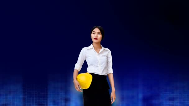 4K Parallax chytrý vůdce mladý senior inženýr s obchodní uniformou a žlutá bezpečnostní přilba na modré stavební technologie od CG animace a modré a modré gradeint pomalý průtok pozadí