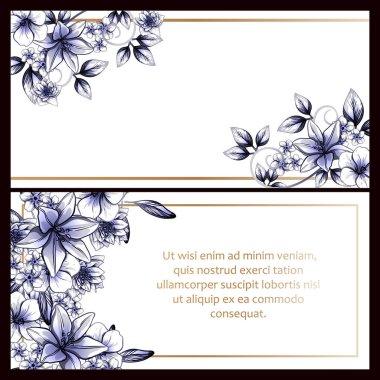 Vintage style flower wedding cards set. Floral elements and frames.