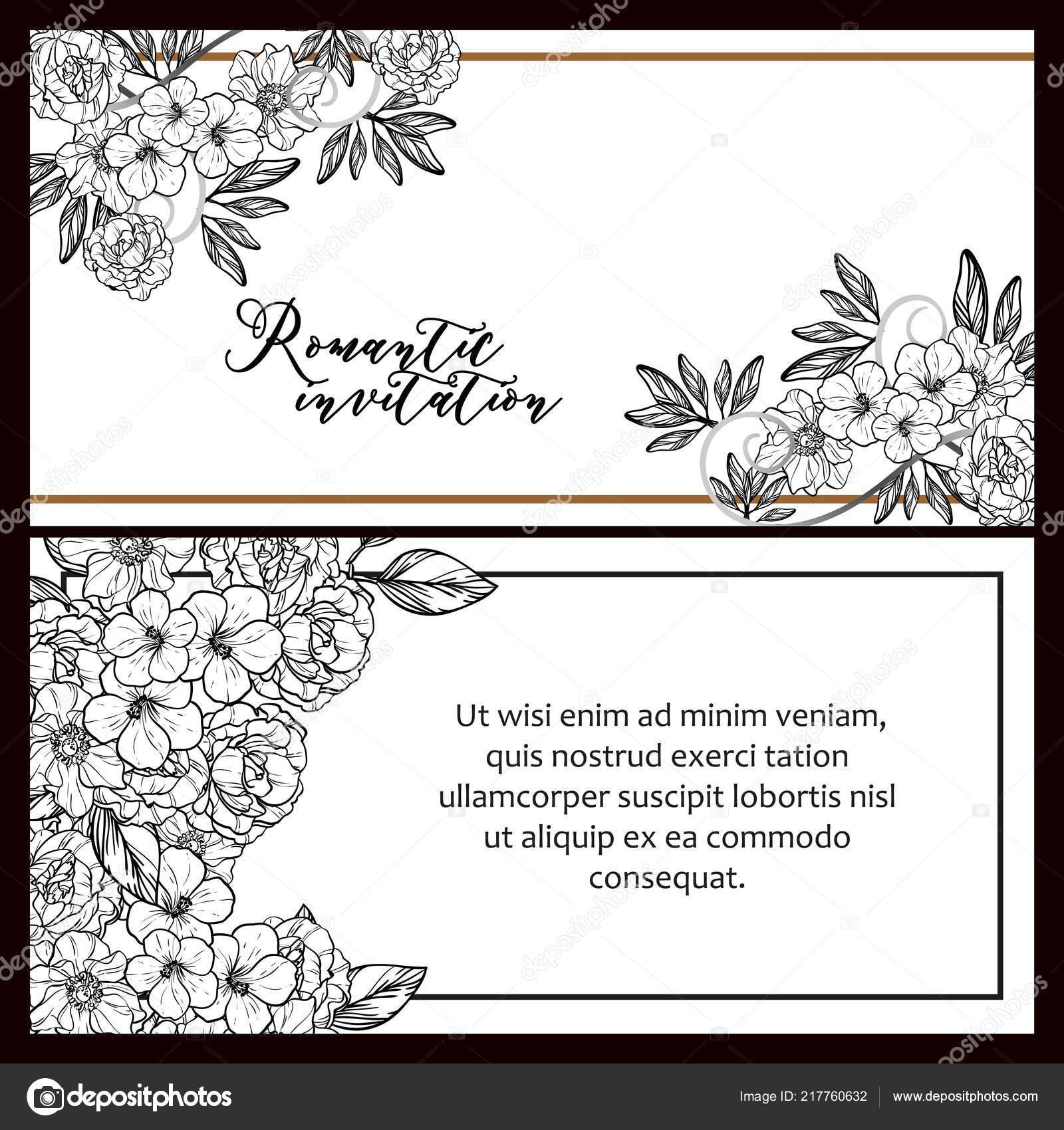 Vintage Style Flower Wedding Cards Set Black White Floral Elements