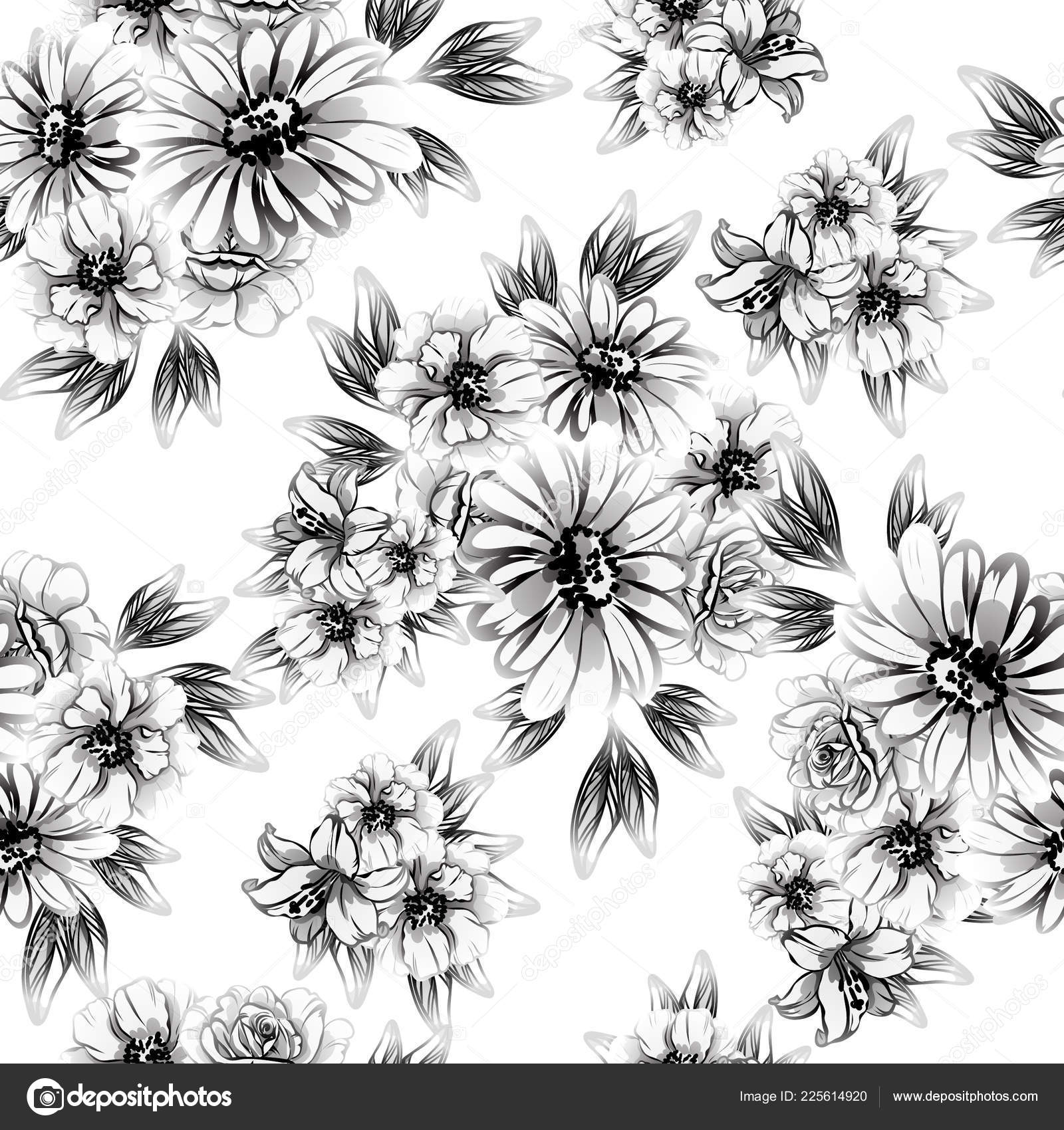 Seamless Vintage Style Flower Pattern Floral Elements Black White