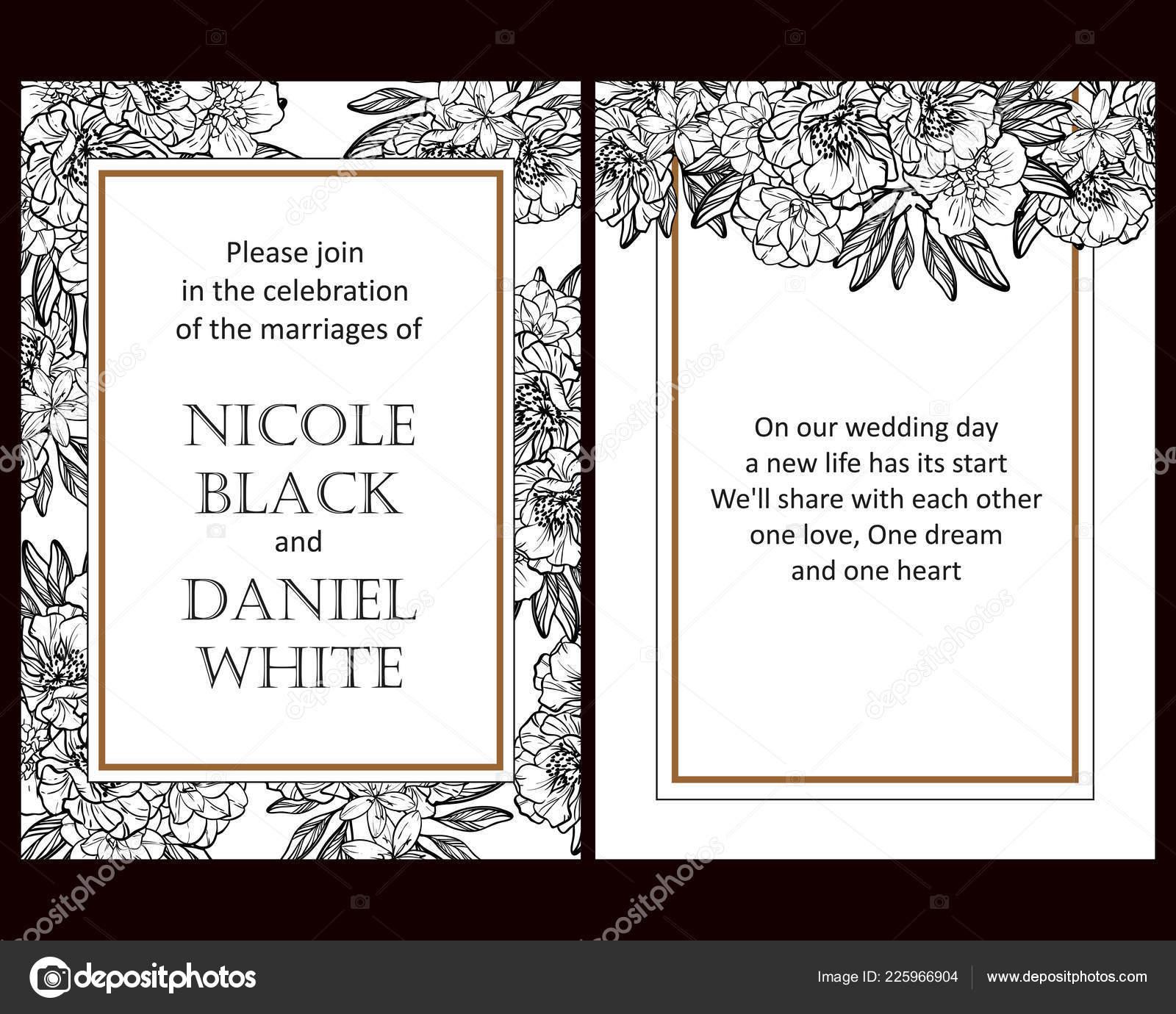 Vintage Stil Blume Hochzeitskarten Set Schwarz Und Weiss Florale