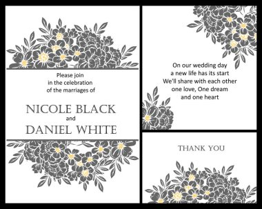 Vintage style flower wedding cards set in black and white. Floral elements and frames.