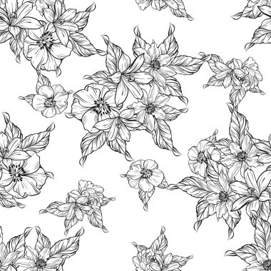Seamless vintage style flower pattern. Floral elements in black and white.