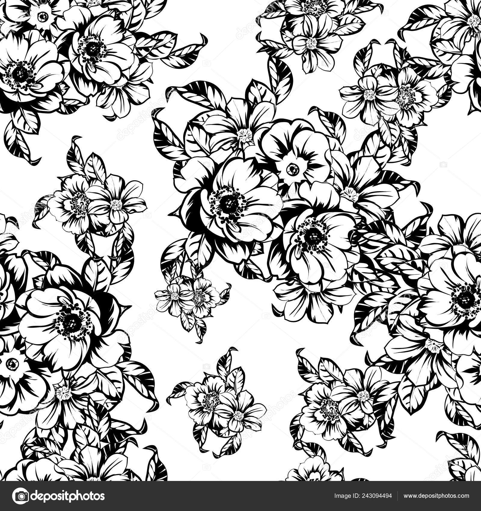 Vector Illustration Black White Retro Flowers Pattern Background