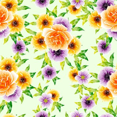 vector illustration of bright flowers pattern background