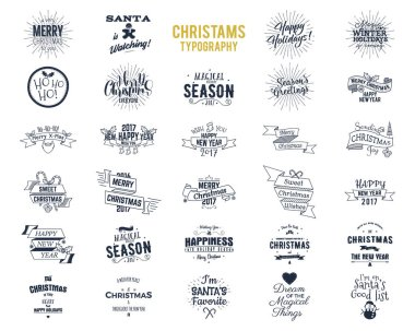 Big Christmas bundle - typography wishes, funny badges, holiday icons and other elements. New Year 2017 lettering, sayings and vintage labels. Season's greetings calligraphy. Stock Vector isolated.