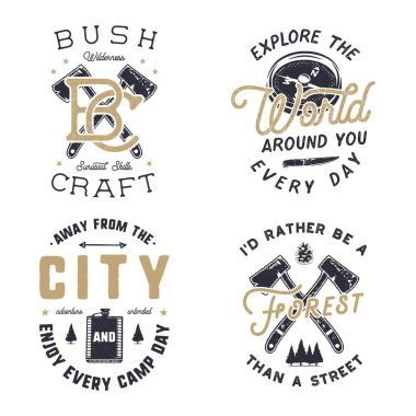Vintage hand drawn travel logos and emblems set. Hiking labels. Outdoor adventure inspirational logos. Typography retro style. Motivational travel logos, quotes for prints, t shirts. Stock vector.