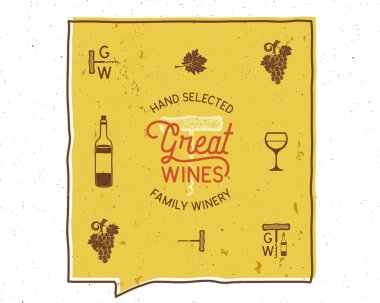 Wine, winery logo and icons, elements. Drink, alcoholic beverage symbol, monogram. Wine bottle, glass, grape, leaf. Great wines lettering. Stock vector poster isolated on white background.