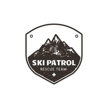 Vintage hand drawn mountain ski patrol emblem. Rescue team patch. Mountains stamp. Monochrome, grunge letterpress effect. Stock vector retro badge illustration isolated on white.