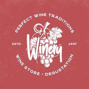 Wine, winery logo template. Drink, alcoholic graffiti art, beverage symbol. Vine icon and typography design. Winery, premium quality sign. Stock vector illustration isolated on retro red background.