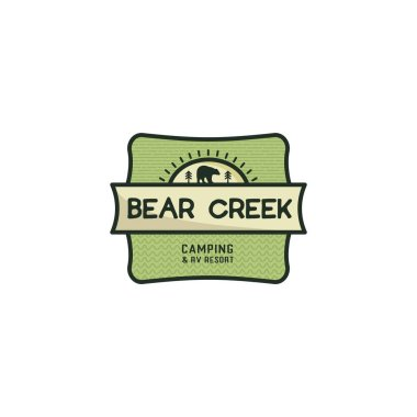 Vintage hand drawn travel badge. Camping label concept. Bear creek. Stock vector patch isolated on white background. icon
