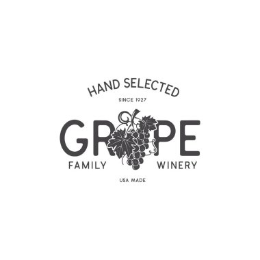 Family Wine shop, winery logo template concept. Vine, leaf and typography design. Stock vector emblem for winery, wine shop logotype, store isolated on white background.