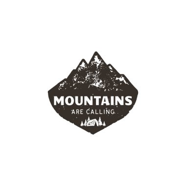Vintage hand drawn mountain logo. The great outdoor patch. Mountains are calling sign quote. Monochrome and grunge letterpress effect. Stock vector mountain logo isolate on white background.