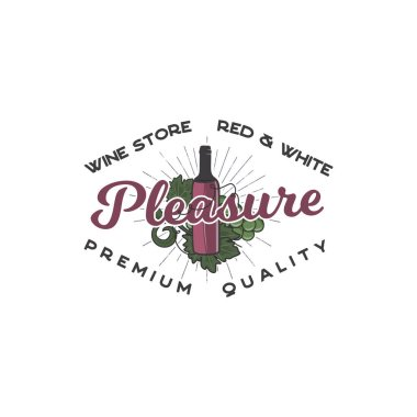 Wine shop logo template concept. Wine bottle, vine symbols and typography design - Pleasure. Stock vector emblem for winery, wine shop logotype, store isolated on white background.