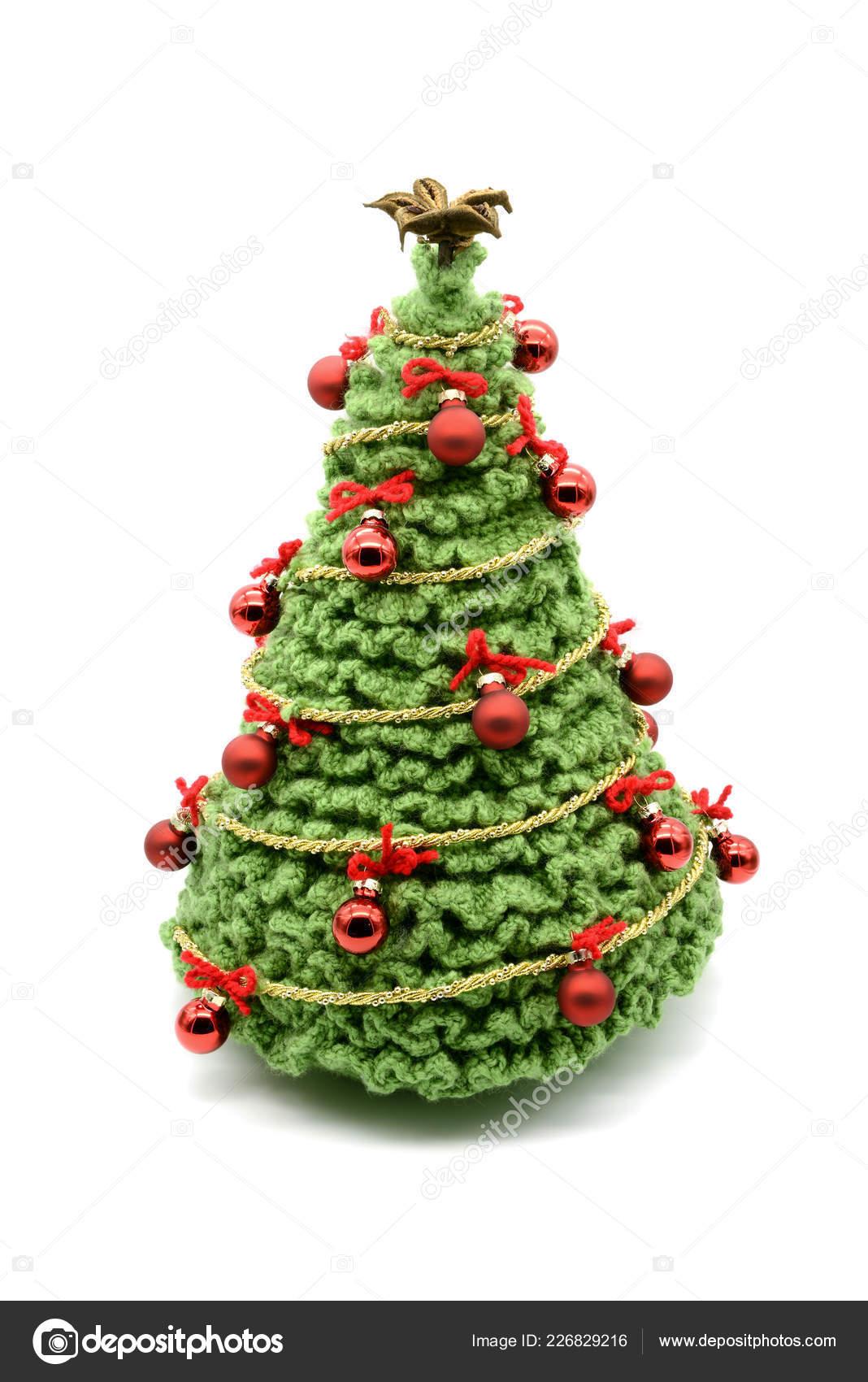 All Uncinetto Albero Natale Isolato Con Palle Ornamenti Realizzato