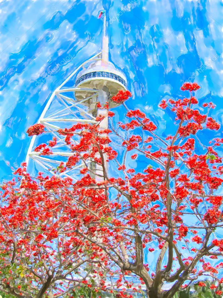 Water color illustration of the Vasco da Gama Tower in Lisbon Po